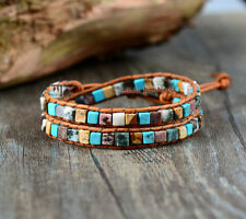 Crystal Bead Friendship Bracelet Wrap, Surf Beach Surfer Chakra Leather Agate