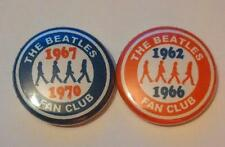 2 THE BEATLES FAN CLUB RED AND BLUE BADGES MINT CONDITION