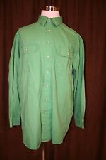 LL Bean Flannel Green Button Front Shirt Cotton Outdoors Hunting Fishing XLT XL