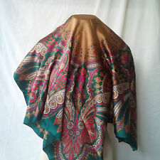 Tie Rack - Large Square Scarf - Green, Gold, Cream, Cranberry NWOT
