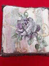 CROSCILL Deep Purple Lavender Rose Tapestry Fringe Throw Bed Sofa Pillow 17/17