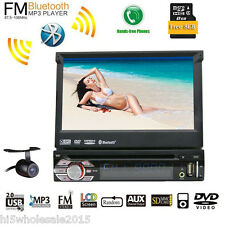 Single 1 Din In Dash FM Aux Receiver Car Stereo Audio GPS DVD Player iPod BT+CAM