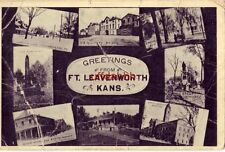 GREETINGS FROM FT. LEAVENWORTH, KANS. eight views incl. Prison, Guard Mount 1912