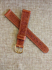 16mm BROWN JOHN WEITZ for VOGUESTRAP EMBOSSED GENUINE LEATHER VINTAGE WATCH BAND