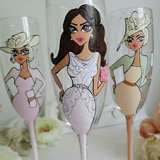 Personalised Hand Painted Wine Glass or Champagne Flute x 3  Wedding Collection