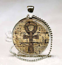 Egyptian Ankh  Cabochon Glass Necklace Pendant with Ball Chain Necklace!!