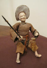antique rare handmade linen pottery Chinese fisherman fishing figure wire doll