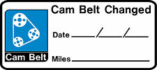 2 X Cam Belt Reminder Car Self Adhesive Sticker 80mm x 20mm MOT Service