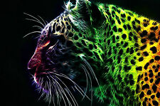 Framed Print - Abstract Multi Coloured Leopard (Picture Poster Animal Cat Art)