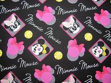 MINNIE MOUSE BADGE GLASSES HAIR BOWS DISNEY on COTTON FABRIC Priced By The Yard