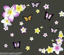 2x 16cm Corner Frangipani Flower Car Stickers Pink White Yellow Plumeria Hawiian