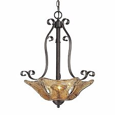 Oil Rubbed Bronze entry 3 light entry pendant bowl light amber hand blown glass