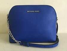 MICHAEL MICHAEL KORS CINDY LARGE DOME ELECTRIC BLUE LEATHER CROSSBODY  BAG