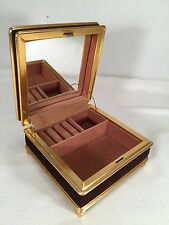 Vintage Brown Velvet Metal Footed Jewelry Box w/ Mirror Hinged Necklace Ring