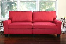 RED Fabric Sofa Couch Love Seat College Dorm Apartment Living Room Modern 61""