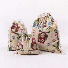 New Owl Printing Drawstring Beam Port Storage Bag Travel Bag Gift Bag L(Size)