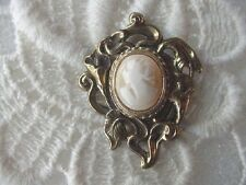 C-1463) vintage Simple WOMAN CAMEO carved sea shell Lily flower brass PIN BROOCH