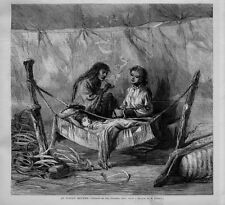 INDIAN MOTHER SMOKING PIPE CANADIAN INDIAN BABY ASLEEP IN HAMMOCK CRADLE PAPOOSE
