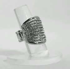 "1"" Silver Crystal OVAL Silver Tone Stretch Band Cocktail Ring Gift"