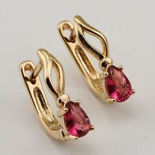 Attractive Nice Red Ruby Vogue Jewelry Gift Gold Filled Huggie Earrings er750