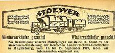 Stoewer Werke AG. Stettin LASTWAGEN * MOTORPFLÜGE Historische Reklame von 1919