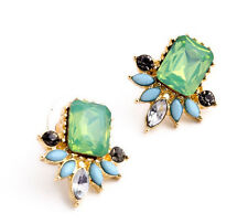 NEW - Signature Anthropologie Mignon Green Blue Grey Bead Gold Earrings