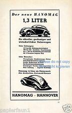 Hanomag 1,3 Liter Reklame von 1939 Brezelkäfer Optik Hannover Werbung ad