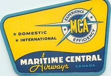 Maritime Central Airways ~CANADA~ Great Old Airline Luggage Label, 1955