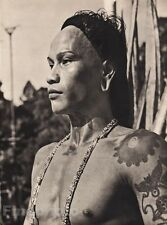 1940 Original BORNEO SEMI NUDE IBAN MALE Tattoo Body Art Photo Gravure K.F. WONG