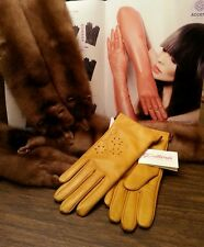 Chic genuine lamb leather gloves, color antique gold, size 6 3/4