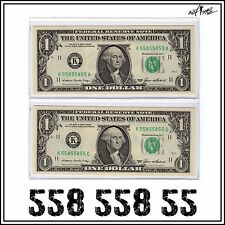 1985 UNC Matching Binary 6/8 Solid Fancy Serial Number Notes, $1 Dollar Bills #