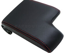 Armrest Center Console Lid Cover Leather for 99-04 BMW E46 Black Red Stitch