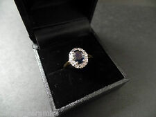 Beautiful 18ct gold diamond & sapphire princess kate syle ring  STUNNING