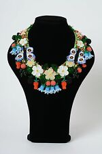 Massive Colorful Handmade Necklace Woven Of Beads With Flowers And Berries