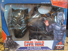 NEW Black Panther Civil War Deluxe Child Costume Top Set & Mask- S 4-6 LOT OF 3