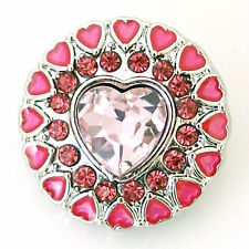 Button Click Druckknopf K81 - Herz Pink - kompatibel mit Chunk Armband