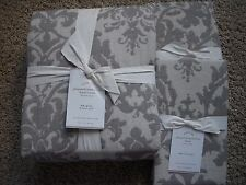 POTTERY BARN Jacquard Linen Medallion Full/Queen Duvet & 2 EURO Shams NEW - GRAY