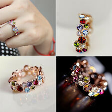Fashion Style Cute Lovely Round Multicolor Ring Love Elegant Flower Mom's Gift