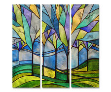 Metal Art Set of 3 Modern Home Decor Abstract Wall Sculpture 'Stain Glass Trees'