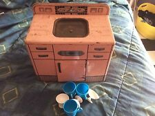 Vintage 1950's Wolverine Frigidaire Pink Doll Furniture Metal Toy Sink