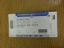 30/11/2013 BIGLIETTO: Peterborough United V Wolverhampton Wanderers. grazie per V