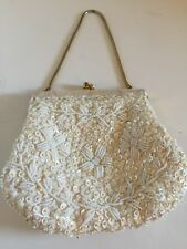 Vintage Beaded Sequin Purse Bridal Bag White Mother Of Pearl MOP Chain Strap