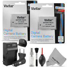 2x Vivitar LP-E8 Battery + Charger for Canon REBEL T5i T4i T3i T2i Kiss X6i X5