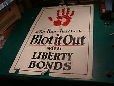 Original WWI Poster: huge 42 x 28 THE HUN---HIS MARK: BLOT IT OUT