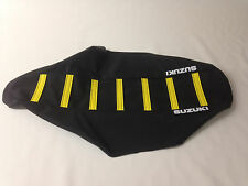 "New ""Suzuki"" Black with Yellow Ribbed Seat cover RM85 2002-2015"