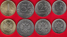 """Russia set of 4 coins: 1 - 10 roubles 2016 """"New types"""" UNC"""