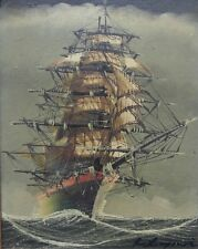 Old vintage artist signed original oil painting sailing ship nautical boat art