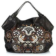 ISABELLA FIORE XLARGE LENA SONG BIRDS LOVE PEACE EMBROIDERED LEATHER BAG~BLACK