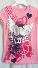 GIRLS S 5 6 PINK SILVER SPARKLE HEART ANGEL WINGS SHIRT NWT THE CHILDREN'S PLACE