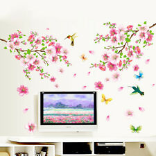 DIY Peach Blossom Vine Flower Bird Removable Wall Sticker Living Room Decor Art